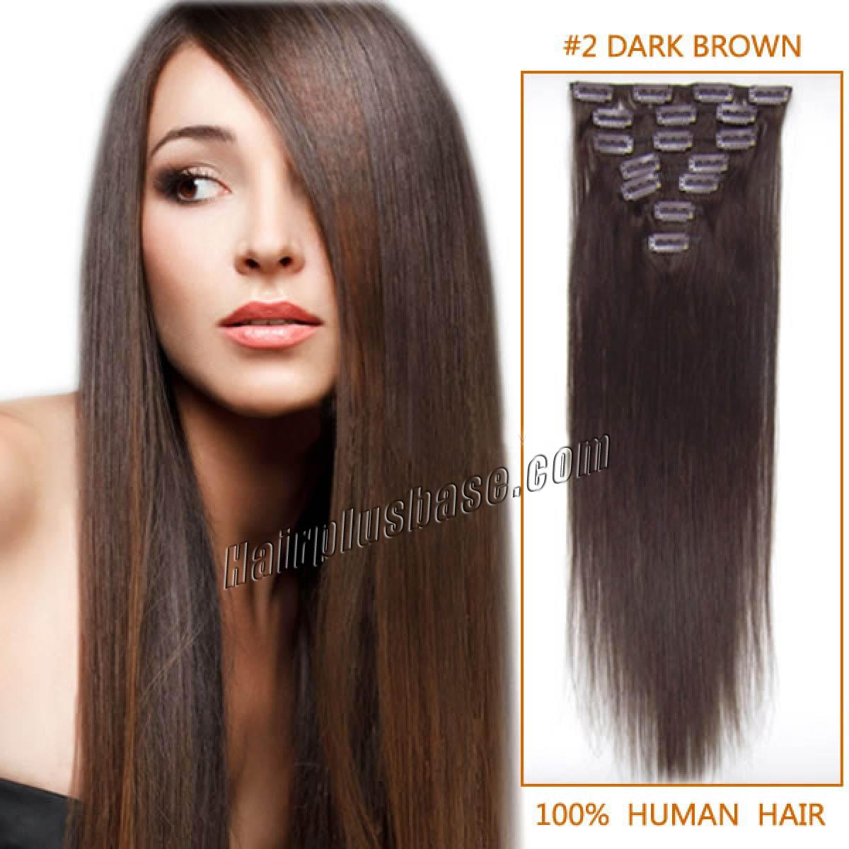 18 Inch 2 Dark Brown Clip In Remy