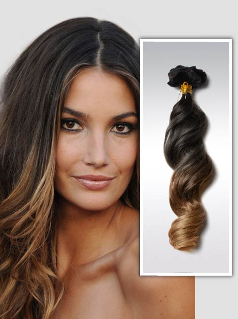 22 Inch 9pcs Fashionable Three Colors Ombre Clip In Remy