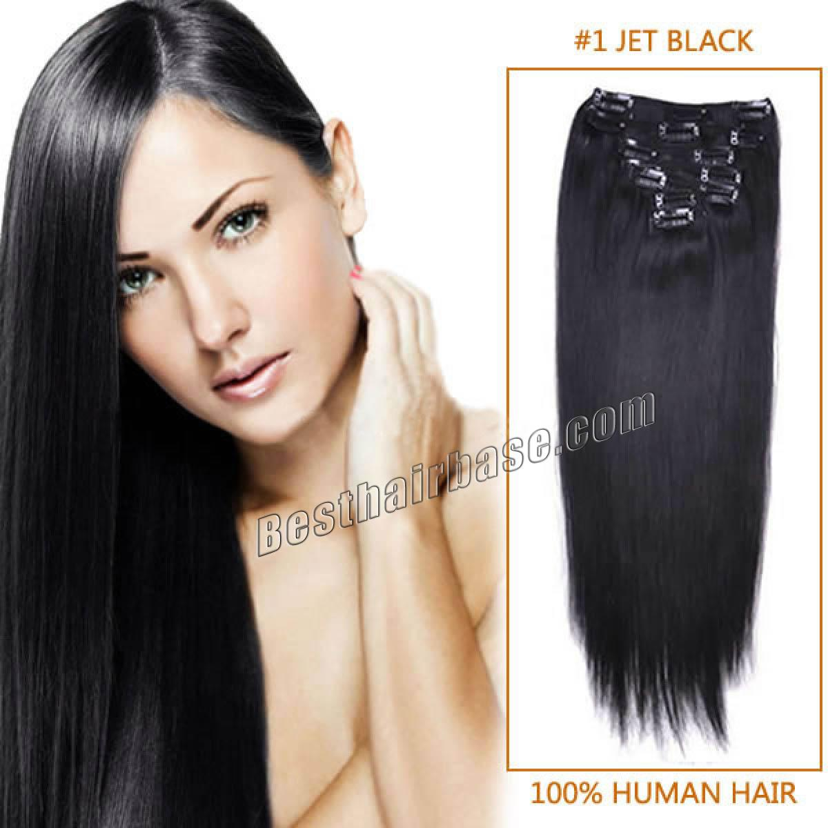 32 Inch Long Salable Straight Clip In Hair Extensions 1 Jet Black