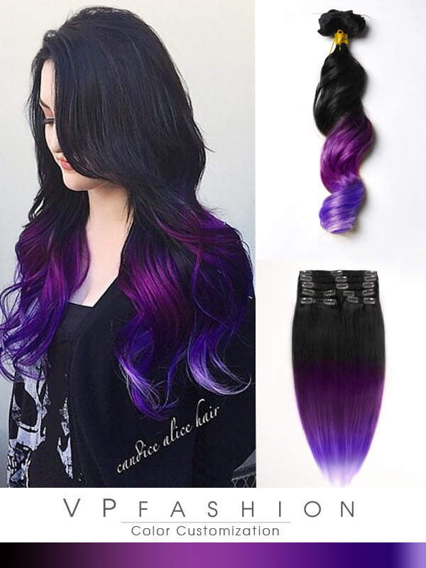 Black To Purple Mermaid Colorful Ombre Indian Remy Clip In Hair