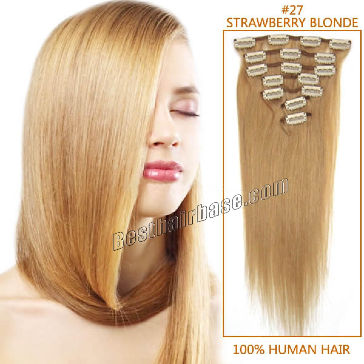 16 Inch Excellent Straight Clip In Human Hair Extensions 27