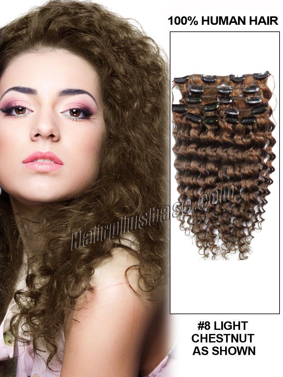 26 Inches 8 Ash Brown Unusual Clip In Hair Extensions Curly 7