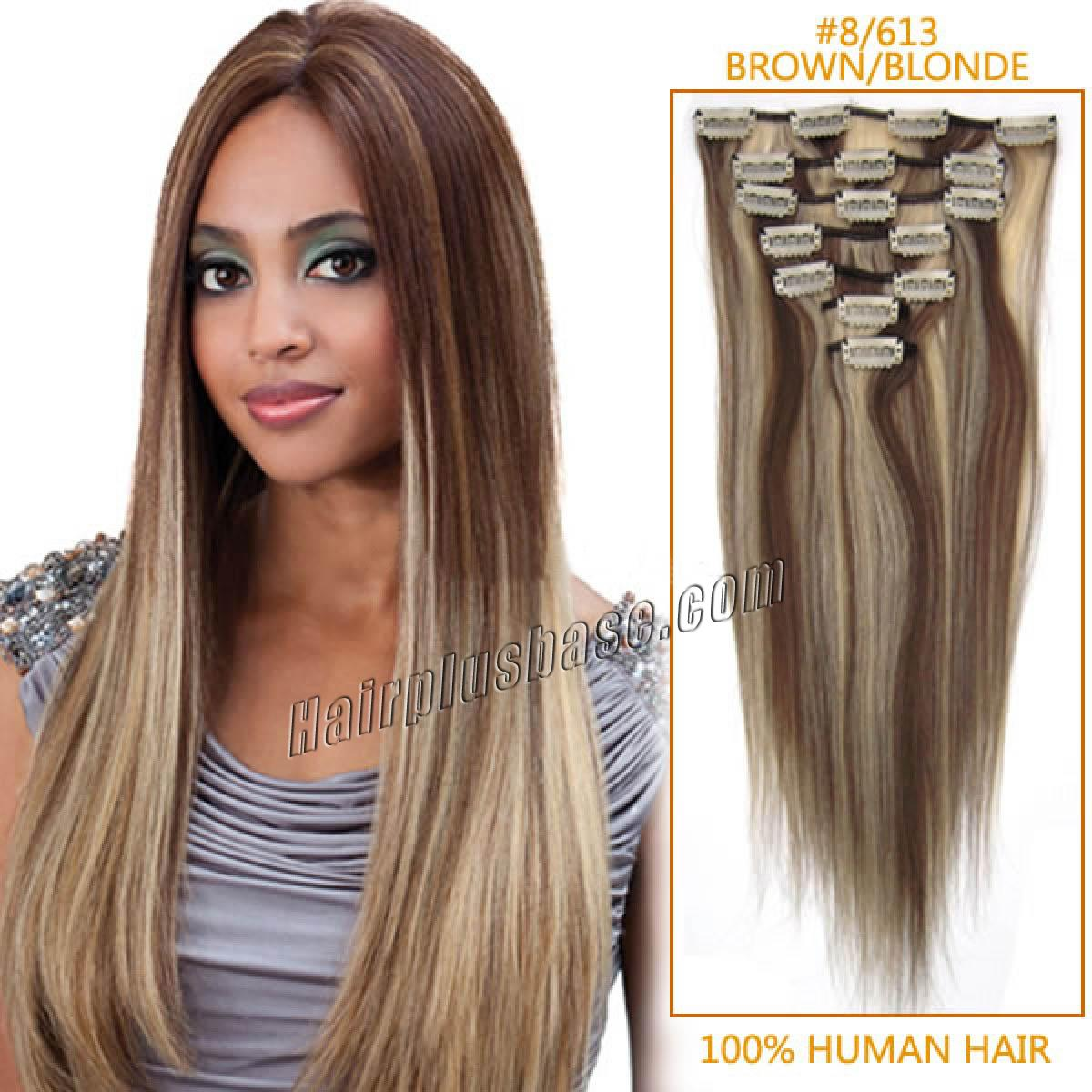 28 inch 8613 brownblonde clip in human hair extensions review pmusecretfo Images