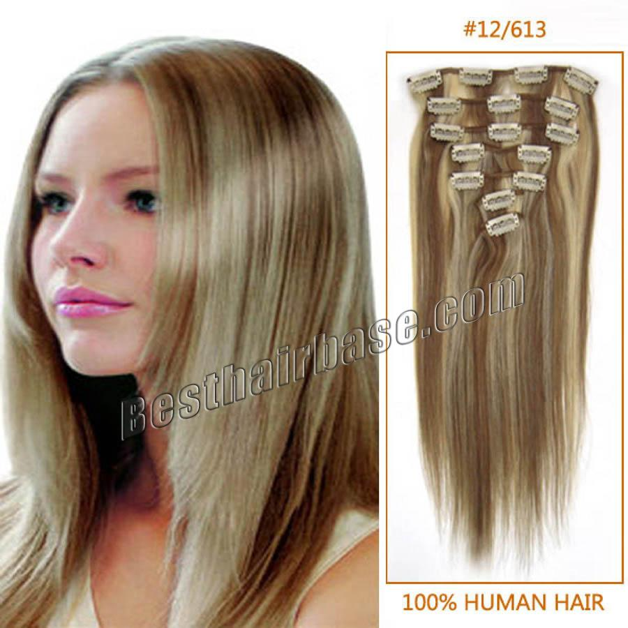 24 Inch Straight Clip In Human Remy Hair Extensions 12613 12