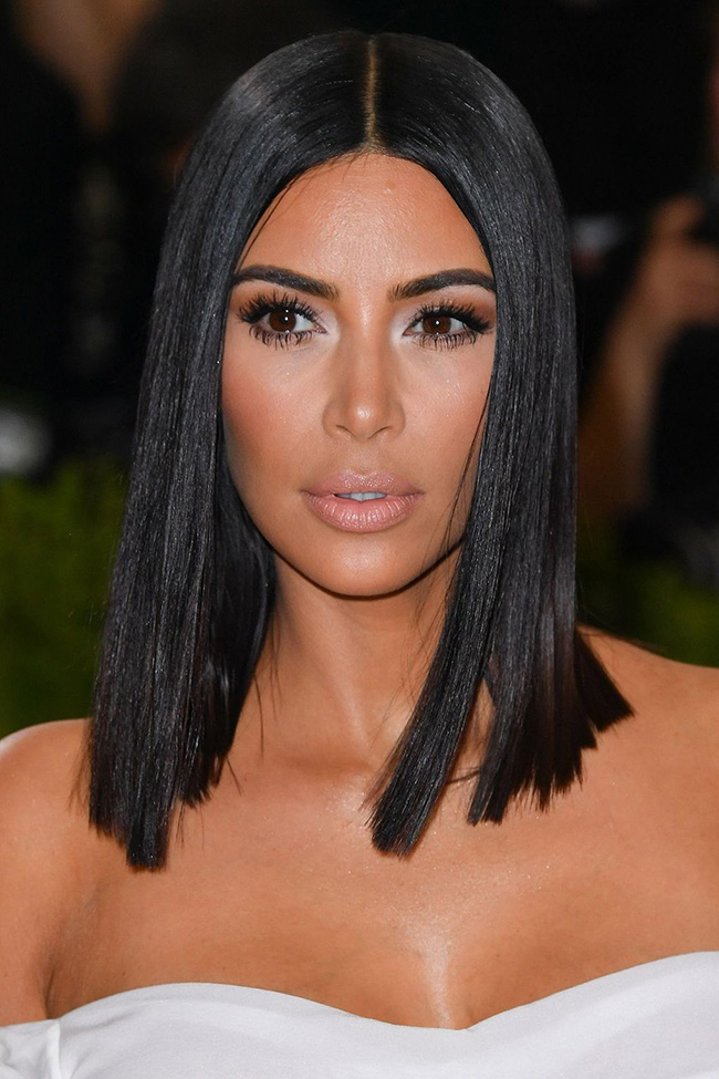 Kim Kardashian with Her Middle Part Sleek Lob